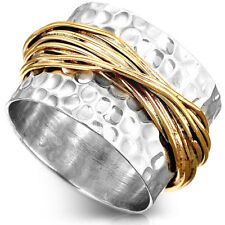 925 Sterling Silver Wrap Ring Wide Band Two Tone Chunky Golden Size 5 6 7 8