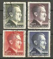DR Nazi 3rd Reich Rare WW2 Gest Stamp Hitler Head Swastika Fuhrer Birthday f Set