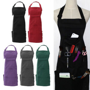 Professional Artist Apron with Pockets Long Canvas Bib Painting Hair Cutting