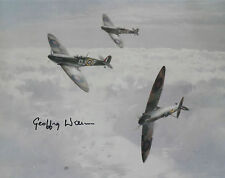 GEOFFREY WELLUM Signed 10x8 WW2 SPITFIRE PILOT Battle Of Britain FIRST LIGHT COA