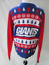 NFL Team Apparel Giants Ugly Chritmas Sweater Medium Trees Snowflakes M