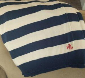 RALPH LAUREN Monogram Navy Blue Ivory Striped Cotton Sweater Throw Blanket 55x75