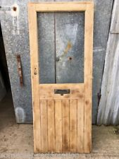 "31 3/4""x79"" Reclaimed Old ExGlazed Stripped Pine Framed Plank External Door"