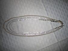 "Crystal Triple Chain Necklace Elegant Vintage 12"" Silver &"