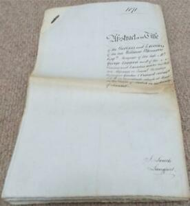 1871 Attested Copy Abstract of Title Indenture Land in Hurst Matlock Somerset