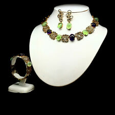 NATURAL SET PURPLE AMETHYST GREEN PERHNITE & BLUE SAPPHIRE 925 STERLING SILVER