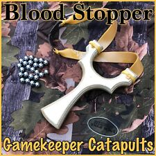 POWERFUL HUNTING CATAPULT, BLOOD STOPPER, GAMEKEEPER JOHN, DOUBLE BANDS, SHOT
