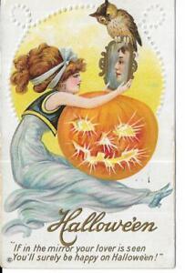 ANTIQUE EMBOSSED HALLOWEEN Postcard  LADY SEES HER LOVER IN MIRROR, PUMPKIN, OWL