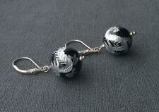 SOLID 925 STERLING SILVER CARVED & HAND PAINTED AGATE GLOBE EARRINGS