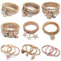 Crystal Owl Butterfly Bracelet Bangle Multilayer Gold Heart Pendant Bracelets
