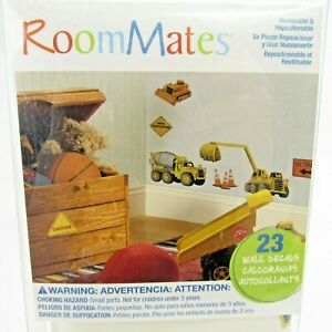 Room Mates Construction Zone Peel & Stick Wall Decals 23 Stickers NEW Trucks