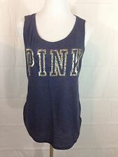 Victoria's Secret PINK Bling Sequin Tank Top Dark Blue Shirt Medium NWT