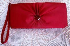 Compact red satin sheen party / evening bag by DEBUT Clutch or wrist
