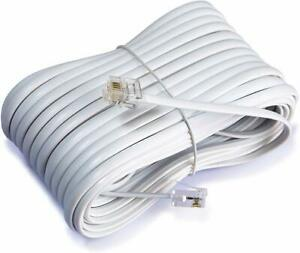 50 Feet Long Telephone Extension Cord Modular Phone Cable Line Wire - White