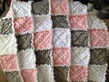 PINK WHITE GRAY/ Baby girl blanket/ rag quilt/ baby shower gift/Stroller