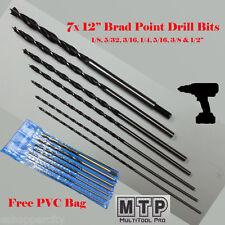 "7 Pc 12"" Long Brad Point Drill Bits 1/8 5/32 1/4 5/16 3/8 1/2 Wood Hole Free Bag"