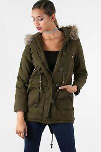 Womens Ladies Faur Fux Hoody Hooded Long Sleeve Pockets Zip Up Coat Parka Jacket