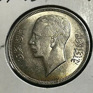1938 IRAQ  SILVER 50 FILS NICE UNCIRCULATED COIN