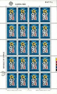 Cyprus 1980 Europa set in full sheets of 20 Sc#533-534 Mint Never Hinged