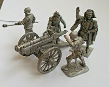 1/30 Medieval Gun Artillery Cannon Crew Set of 4 Tin Metal Soldier Knight 65 mm