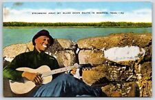 African American Man Strumming on a Banjo in Memphis, Tennessee Linen Postcard