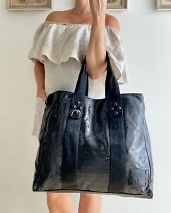 Authentic GUCCI Black Monogram GG IMPRIME Tote Bag SHOPPER carry All Purse Large