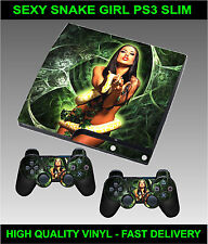 PLAYSTATION 3 SLIM CONSOLE STICKER SEXY SNAKE GIRL SKIN & 2 CONTROLLER SKINS