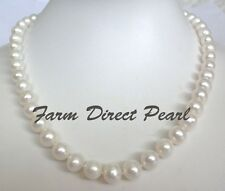 "18"" Inch Genuine 9-10mm White Pearl Strand Necklace Cultured Freshwater"
