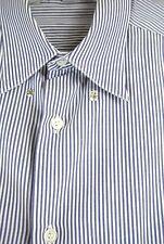 GIORGIO ARMANI Mans Button Down Dress Shirt 16/41 Stripped Blue/White XXL