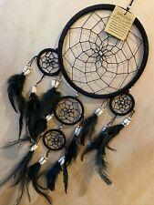 STUNNING Black Handmade Boho Feather Dream Catcher 16cm Web