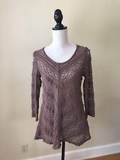LILKA ANTHROPOLOGIE COLETTE LACE BROWN PULLOVER SHEER TOP TUNIC sz Small