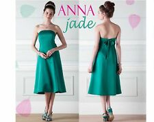 57141ba6f91e Size 10 BHS Anna Satin Bow Bridesmaid Dress Jade Green Short Knee Length