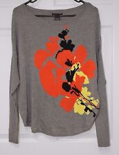 NEW YORK & COMPANY WOMEN SWEATER GRAPHIC GRAY SMALL FLORAL