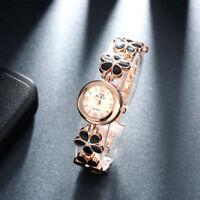 18K Gold Plated Black Drip Oil Flower Quartz Watch Lady Women's Wrist Watch Gift