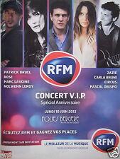 PUBLICITÉ 2013 RFM CONCERT V.I.P. PATRICK BRUEL ROSE MARC LAVOINE NOLWENN LEROY