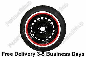 """15"""" Add-On Red White Wall Portawalls Tyre Insert Trim SET OF 4 VW BUG Beetle."""