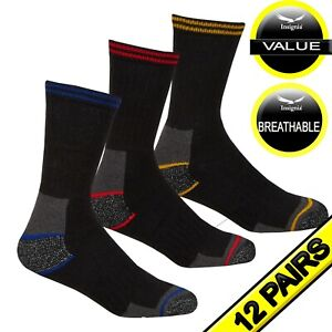 New 12 Pairs Mens  Work Boot Socks Size 6-11 Cushion Sole Reinforced Toe & Heal