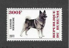Dog Art Body Study Portrait Postage Stamp Norwegian Elkhound Burundi 2011 Mnh