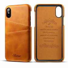 "For Iphone X XS 5.8"" Brown Leather Credit Card Holder Shock Bumper Case Cover"