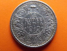"""George VI King Emperor 1/4 Rupee """"1940"""" Calcutta Mint Original Silver Coin"""