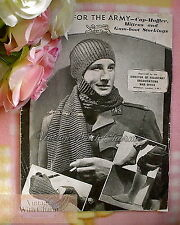 "Vintage 1940s Mens Knitting Pattern ""for The Army"" Cap-muffler Mitts Socks Ww2"