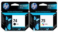 GENUINE NEW HP 74/75 (CB335WN/CB337WN) Ink Cartridge 2-Pack