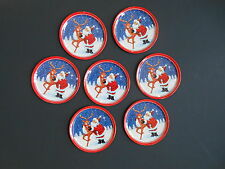 Vintage Christmas Metal Coasters Santa with Reindeer Set of 7