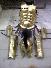 Brass Greek Muscle Armor W/ Spartan Helmet Leg Arm Guard Set Halloween Costume