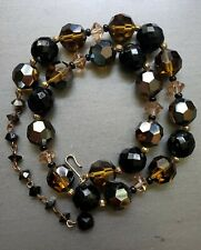 Vintage LISNER Estate Smokey Topaz and Black Crystal Necklace EUC Rare