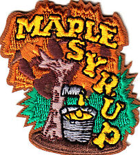 """MAPLE SYRUP""- IRON ON EMBROIDERED APPLIQUE PATCH/Food, Topping, Treat, Words"