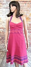 White Stuff Ladies Pink Embroidered Linen Dress Size 12   Knee Length  Used