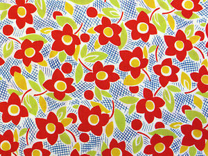 Lecien 1930s REPRO FLORAL COTTON fabric red vintage flowers 30s dress craft 50cm