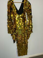 Egyptian Belly Dance Baladi Galabeya Women Dress Dancing Costume black & Gold