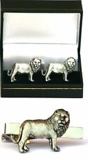 Lion Cufflinks & Tie Clip Bar Tack Slide Men Set Safari Wildlife Gift